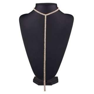 Choker Rhinestone Lariat Necklace