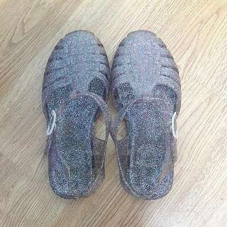 Size 35-36 Rubi Glitter Purple Rubber Sandals