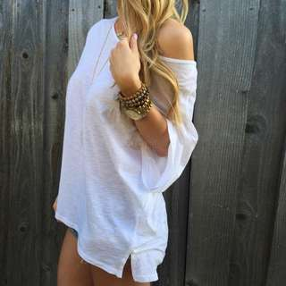 One Shoulder White Loose Top