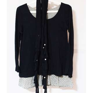 Korean Navy Blue Pullover with Scarf