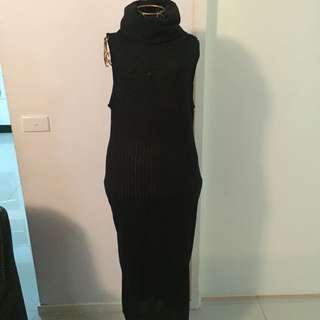 Black Turtle Neck Long Dress
