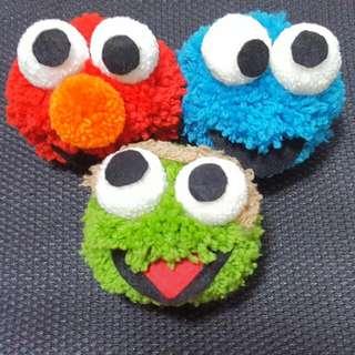 Handmade Sesame Street Pom Pom Keychains