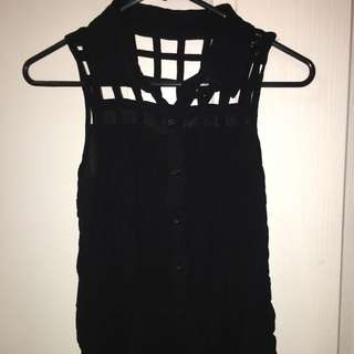 Black Square Cut Out Blouse