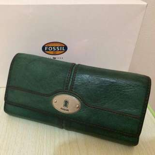 Pre-loved: Original Fossil Marlow Flap Clutch (Colour: Pine Green)