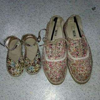 floral shoes set for mom and daughter