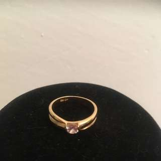 18K  GP Yellow Gold Ring With Stone