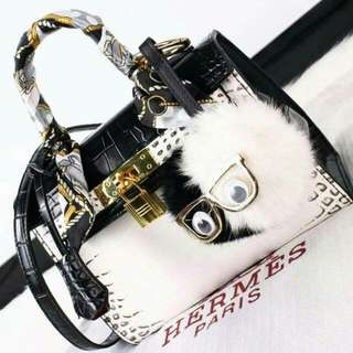 Kelly with New combination Black n White Croco Leather