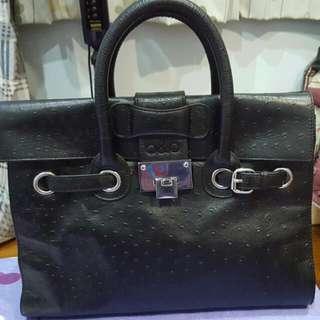 b&b Black Birkin Style Full Leather Bag