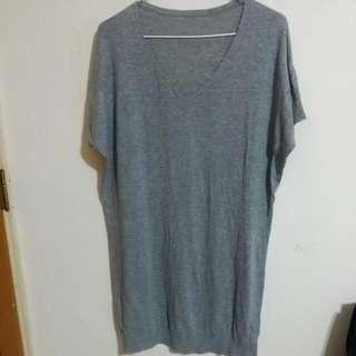 🌷灰色V領長版針織洋裝 連身裙