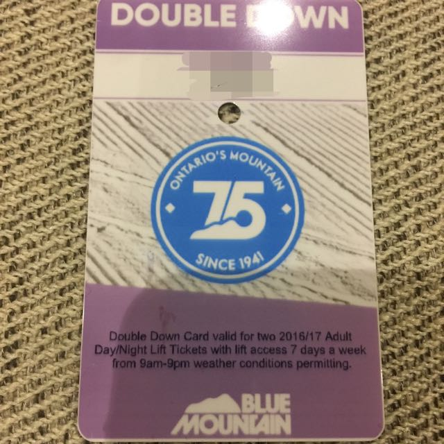 2 Blue Mountain Ski Lift full day adult tickets $100/pair