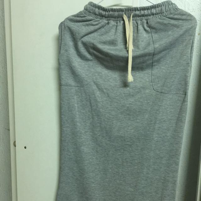 灰色綁帶窄裙
