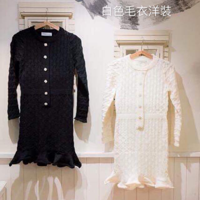 白色毛衣洋裝
