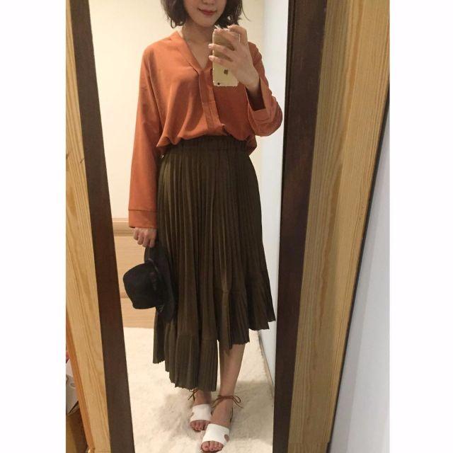 (全新含運轉賣)不規則裙襬厚雪紡墨綠色微荷葉韓國中長裙