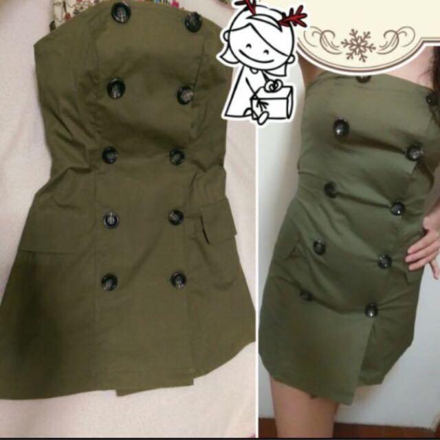 軍綠色緊身洋裝