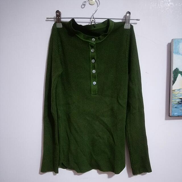 🔼全新 墨綠色合身毛線上衣