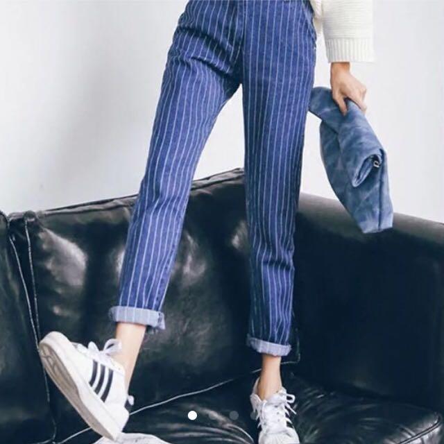 白條紋牛仔褲 男友褲