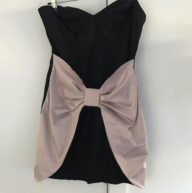 ASOS Black And Pink Bow Sweetheart Neckline Dress SizeM