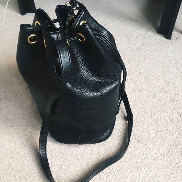 Black Bucket Bag With Gold Accents