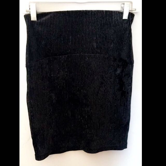 Black Velvet Corduroy Skirt