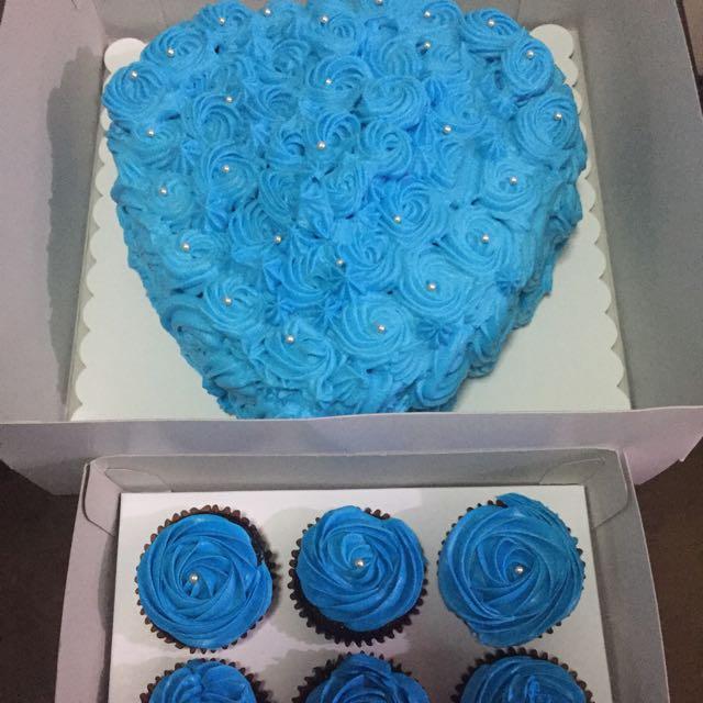 Blue Heart Rosette Cake