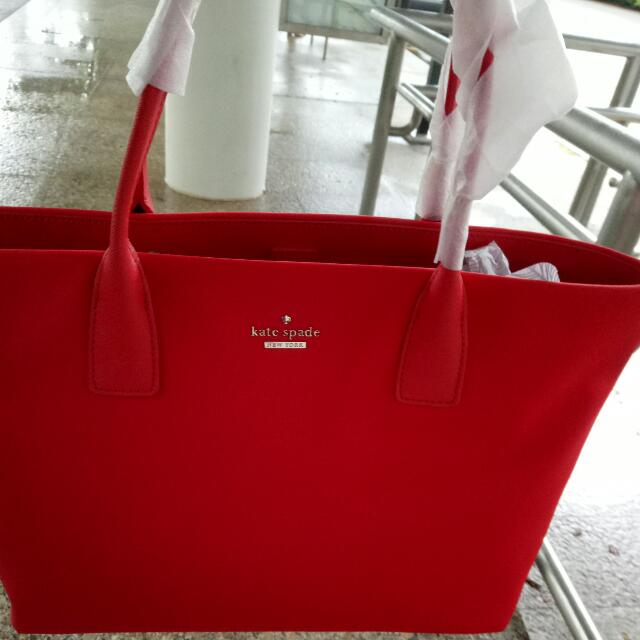 Brand New Kate Spade Catie Nylon Tote Bag In Red Color Luxury Bags Wallets On Carou
