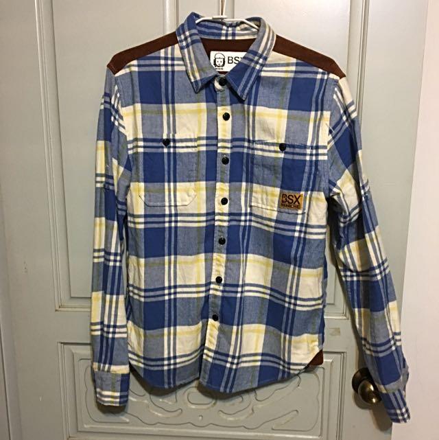 BSX 藍色格紋 法蘭絨襯衫S