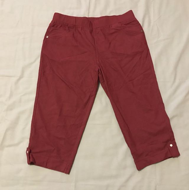 Burgundy 3/4 Pants