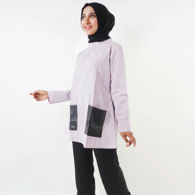 Busana Muslim Pink W/black Pocket