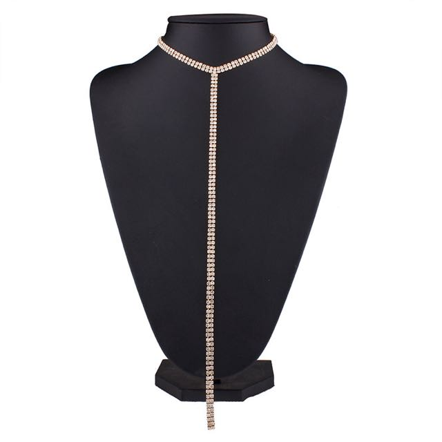 Choker Rhinestone Lariat Necklace