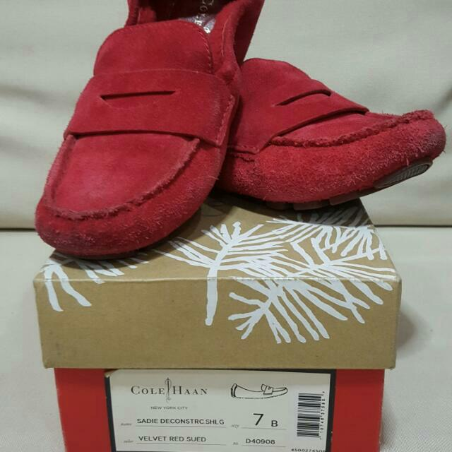 COLE HAAN VELVET RED SUEDE Driving Shoes