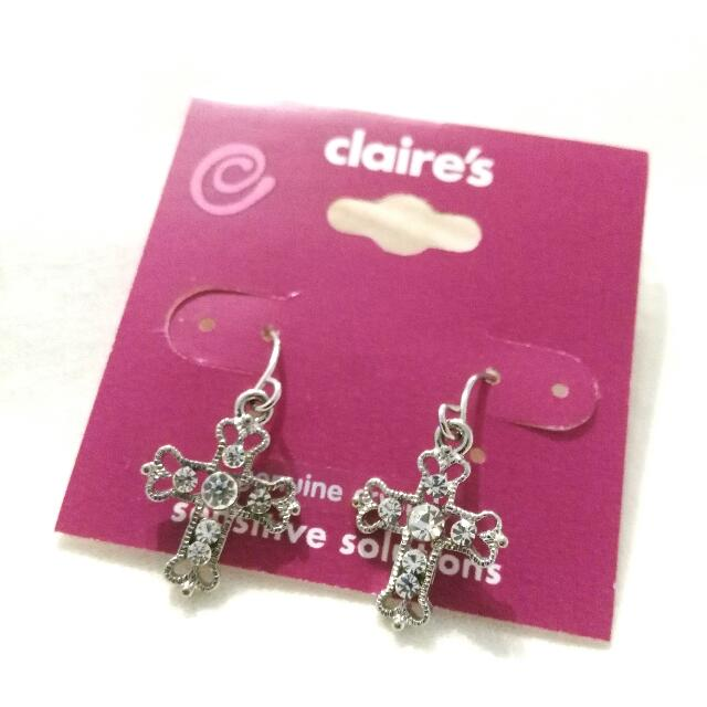 Crystal Cross Earrings (New)