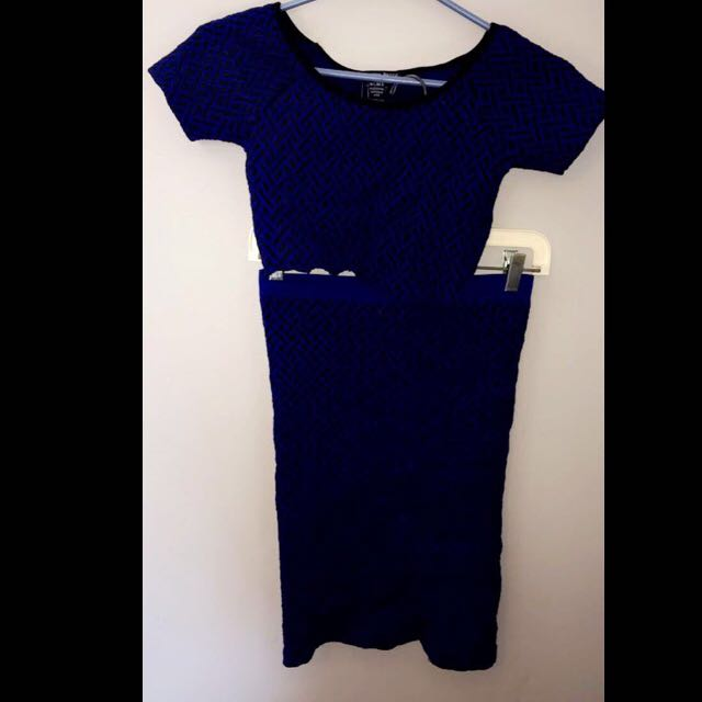 Cut Blue 2 Piece Dress