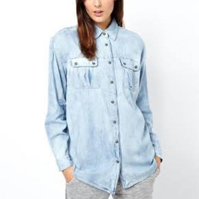 Denim Boyfriend Shirt Size 8