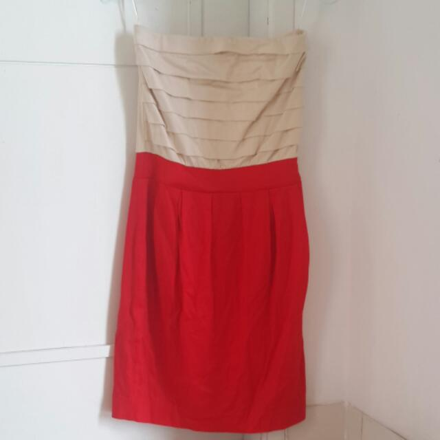 Dress MANGO Cream Red