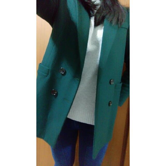 轉售ebo_kr 毛料,墨綠色西裝外套