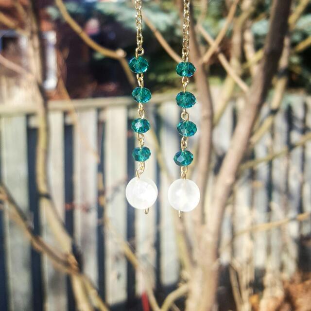 Gemstone Drop Evening Earrings