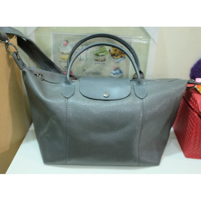 Longchamp Le Pliage Cuir medium Hobo Strap (bukan ORI)