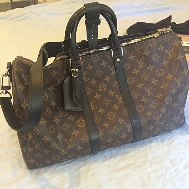 LOUIS VUITTON Monogram Macassar Keepall 45 Bandoulier