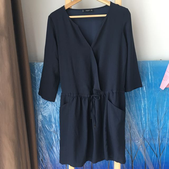 Mango mNG Navy blue Belted Dress With 2 Side Pockets EUR S