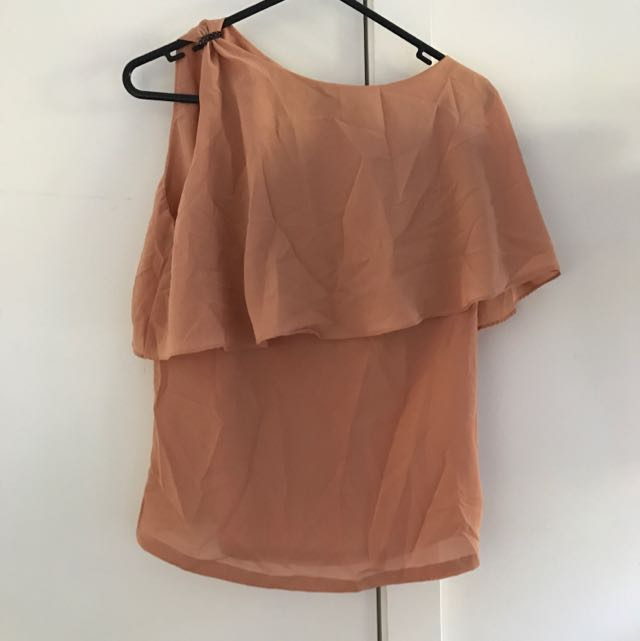 Nude/Peach One Shoulder Top Free Size