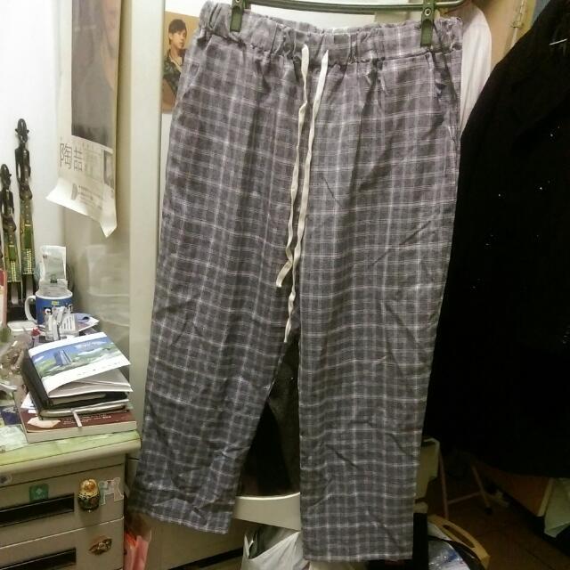 OB design 灰色格紋寬褲 涼感褲