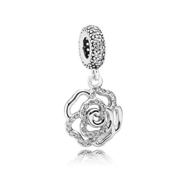 Pandora Charm-Shimmering Rose Openwork