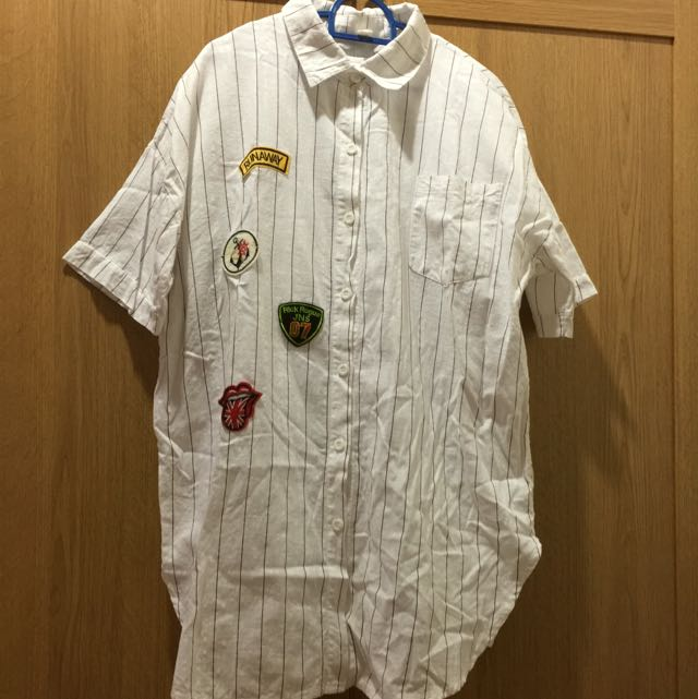 Patches linen shirt dress