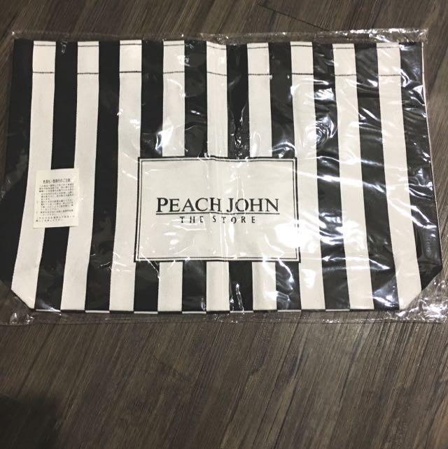 peach john黑白條紋時尚帆布包(含運)