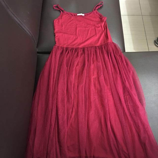 Peachy酒紅色紗裙