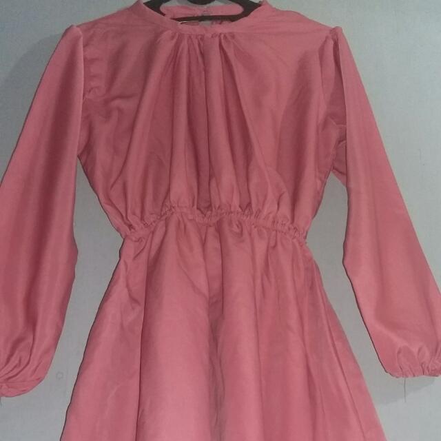 Preloved Dress Lengan Panjang Pink