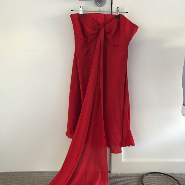 Red Hot Prom Dress In Silky Chiffon Mattering Size M-L