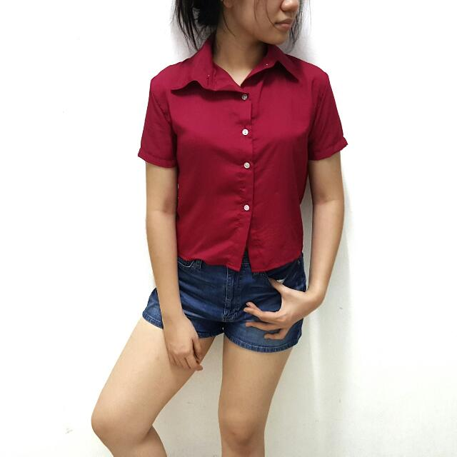 Red Polo Crop Top
