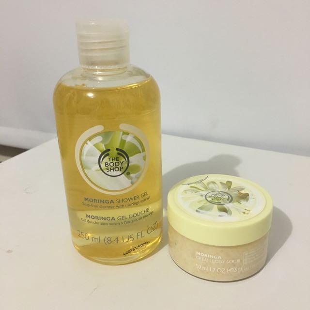 "The Body Shop ""Moringa"" Shower Gel + Body Scrub"