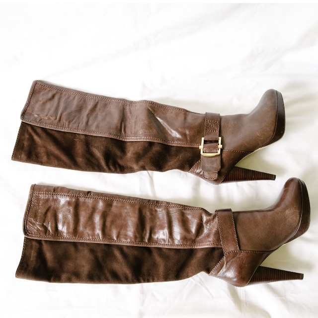 Tony Bianco Leather Knee High Boots | Brown | Size 7 | Worn Once